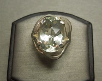 Vintage Retro Estate C1960 925 Sterling Silver 15 carat Oval Large Green Amethyst Solitaire Ring Sz 5.5
