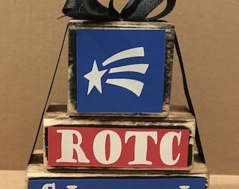 ROTC wood block set, school spirit, ROTC gift, ROTC decor, room decor, office decor, team gift