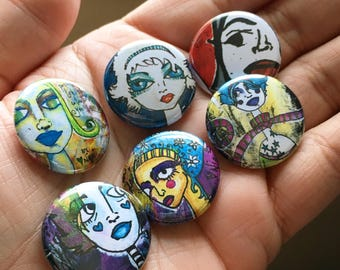 Ghosts & Goddesses pinback button one inch