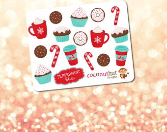 Peppermint Bliss / Christmas / Holiday Cupcakes Treats Coffee Mini Planner Sticker Sheet