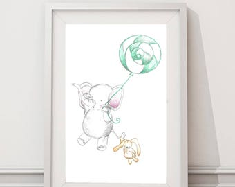 "Children's illustration ""Elephant and his Bunny"". Printed sheet. Children's table."