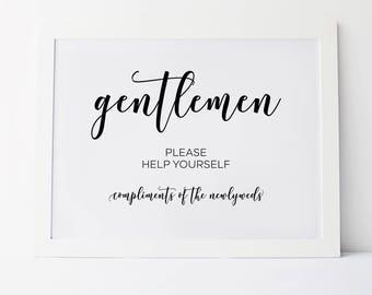 Wedding Bathroom Sign, Wedding Bathroom Basket Sign, Gentlemen Bathroom Sign, Wedding Reception Signs, Wedding Day Signs, Wedding Signage