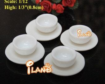 1:12 scale dollhouse miniature white plain porcelain soup bowls SET; High 0.8cm