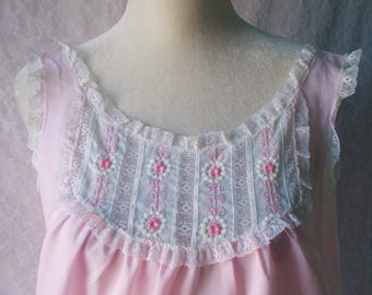 Vintage Pink Night Gown 60s Cotton Blend Lace Embroidered Floral Size L