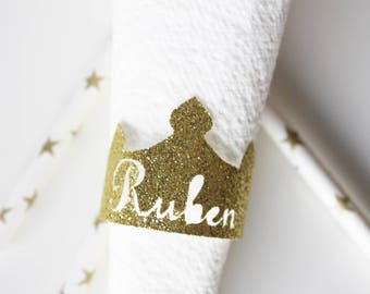 10 mini gold glitter crowns + name - baptism table decoration