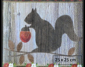 wood squirrel on a background paper towel