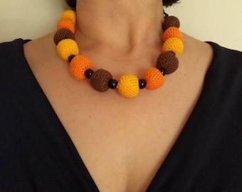 Short necklace and matching earrings, handmade (crochet balls)