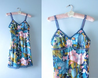 Vintage Mod Slip Dress | 1960s Flower Print Tricot Nylon Mini Slip Dress XS