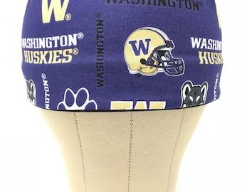 Washington Huskies SNAPBACK Scrub Hat Men's/ Huskies / Surgical Hats / Skull Caps / Chef Cap / Surgery / Chef's Cap / Chemo Hats / Men'