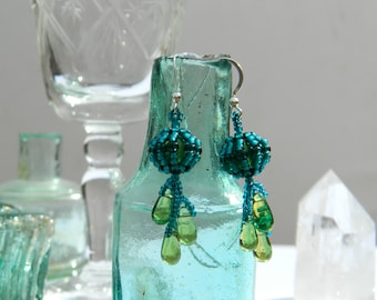 Beaded bead drop earrings - olive and teal