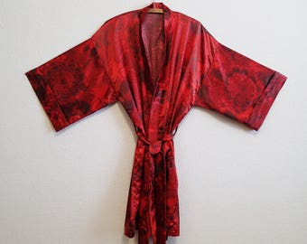Red Asian Satin Robe Plus Size Japanese Floral