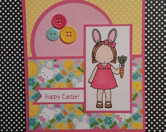 Happy Easter Card, Easter Greeting Card, Handmade Easter Card, Bunny, Chick, Egg