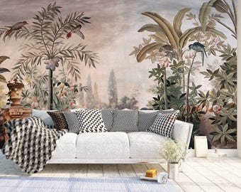 Wall Coverings, Wallpaper, Wall Murals, Removable Vintage Wall Decals    Watercolor Hand