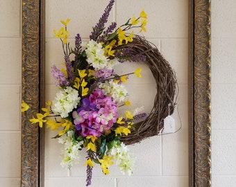 Spring Wreath with Purple Hydrangea