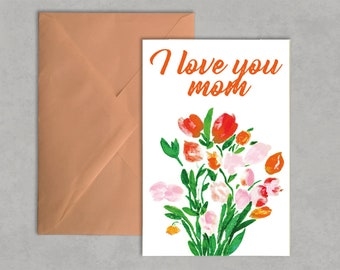 Printable Mother's Day Card, Happy Mother's Day Card, Watercolor Floral Card, Floral Greeting Card