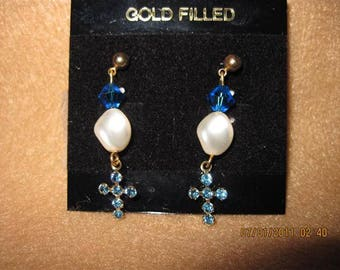 Swarvoski Lt. Sapphire Cross and Pearl Earrings...HANDMADE
