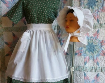 Victorian Girl's  Apron and Bonnet