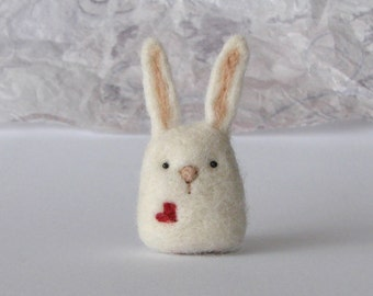 Needle Felted Bunny with a heart