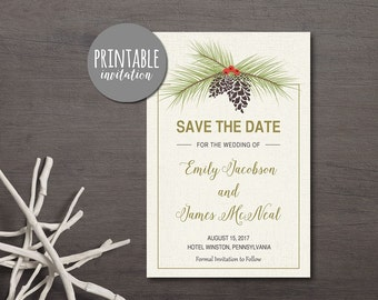 Save the date Printable, Winter Save the Date Card, Pinecone Save the Date, Printable Save the Date Card, Winter Wedding Save the date