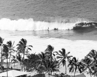Black and White Surf Photo, Black and White Hawaiian Print, Palm Trees, Surfer, Vintage Surfing Poster, Hawaii Waves, Vintage Print