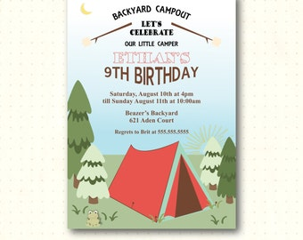Camping Birthday Party Invitation, boy, girl, 8th, 9th, 10th, nature, woodsy, sleepover, digital, printable invite K62551