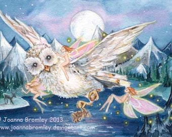 "ACEO -Owl's Moonlight Flight, 3.5x2.5"", Limited Edition Print, whimsical fairy fantasy animal art"