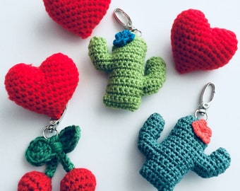 Heart, Cactus, Cherry Crochet Bag Charm/Keychains/Brooches