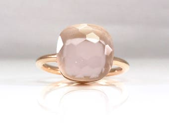 Rose quartz ring large - blush pink ring - pink ring for her - January birthstone - large stacking ring - sterling silver gold vermeil ring