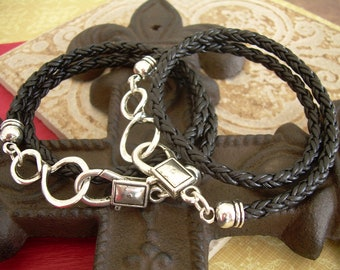 Infinity Leather Bracelet, His and Hers Set of  Infinity Bracelets, Mens, Womens, Natural Black Braided