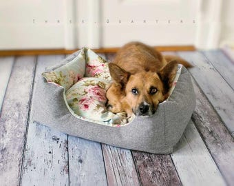 Dog bed, cat bed, roses, shabby, vintage, cat, dog, puppy, flowers, pet, bulldogge, pug, chihuahua, frenchie
