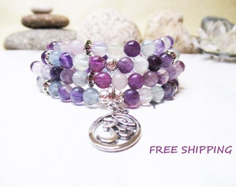 108 Mala Bracelet Fluorite Bracelet 108 Beads Fluorite 108 Mala Necklace Wrist Mala Yoga Necklace Meditation Bracelet Om Bracelet Yoga Mala