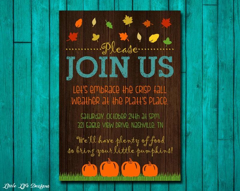 Fall Party Invitation. Fall Party Invite. Bonfire Invite. Fall