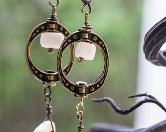 Dangle Earrings with Bone and Bronze Accents, Bare Bones by Daliena, Halloween jewelry, Limited Edition, Bone jewelry, Hypo-allergenic