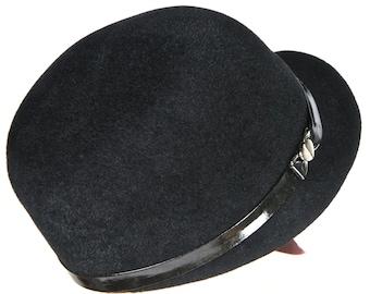 Womens Black Felt Cap,  Black Patent Leather, Womens Winter Hat