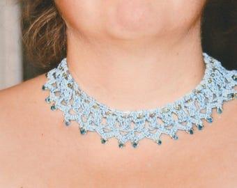 crochet Choker necklace and Swarovski Pearl
