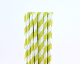 Light Green Striped Paper Straws-Light Green Straws-Vintage Birthday Straws-Ice Cream Party Straws-Striped Paper Straws-Wedding Straws