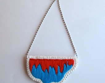 Embroidered necklace abstract pendant with bright red and blue on a silver ball chain perfect for Spring and Summer MADE TO ORDER