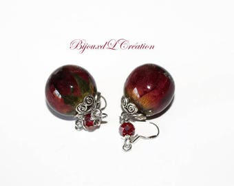 Stud Earrings bubble resin flowers dried with Silver 925