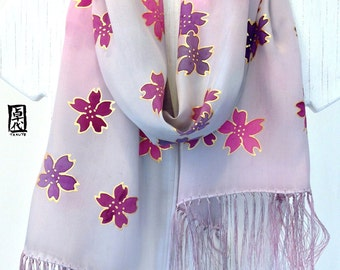 Hand Painted Silk Fringe Scarf, Japanese Sakura Scarf, Pink and Gray Ombre Silk Scarf, Gift Wrapped, Holiday Silk Scarf, Made to order
