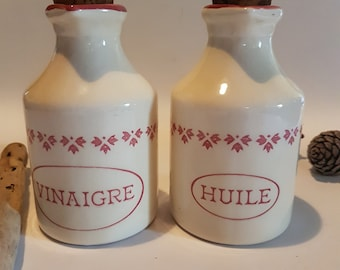 Vintage Schramberg SMF German Oil and Vinegar Jars, Huile et Vinaigre, French Country Kitchen, Vintage Kitchenalia