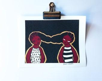 Redbone: Sisters | Fine Art Print | Desiree Vaniecia | Illustration | Wall Art | Limited Edition