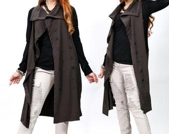 Sleeveless Double Breasted Vest - Cardigan - Dark Brown - idea2love