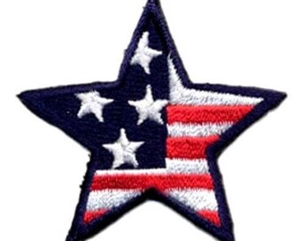 Embroidered Iron-on Applique Star, 2 inch