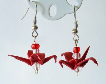 Handmade Origami Earrings with Cranes of Happiness Metallic Paper Red