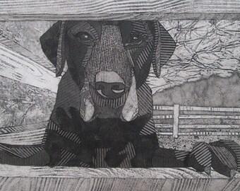 Labrador Retriever Art, Black Labrador, Original Collograph Print - Welcome to the Farm 1