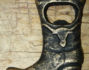 Cast Iron Antique Style COWBOY BOOT Beer Bottle Opener Western Man Cave Longhorn