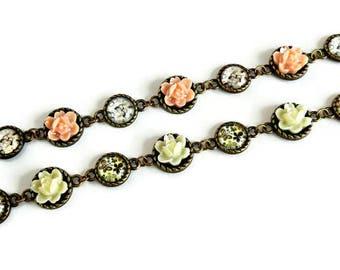 Floral bracelet, Rose bracelet, Butterfly bracelet, White rose bracelet, Pink rose bracelet, Butterfly jewelry, Shabby chic bracelet