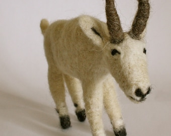 Needle Felted Mountain Goat // Felted Animal // Wool // Fibre // Textile Art // Soft Sculpture