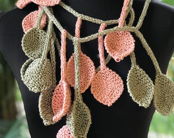 Knitted Lariat Scarf Leaves, Scarf Necklace Lariat, Knitted Scarf, Necklace Lariat Scarf, Long Scarf, Christmas Gift, Multicolored Scarf