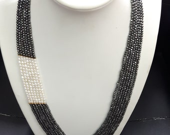 Necklace with grey hematite and natural beads